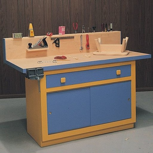 View a Larger Image of Woodworking Project Paper Plan to Build Workbench & Cabinet, Plan No. 535